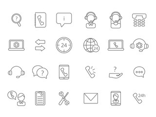 Call center support icons. Vector linear symbols isolate on white