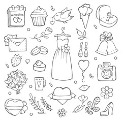 Wedding day icons. Various pictures of brides and wedding tools