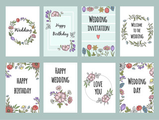 Botanic cards with plants. Vector design template of different cards with flowers