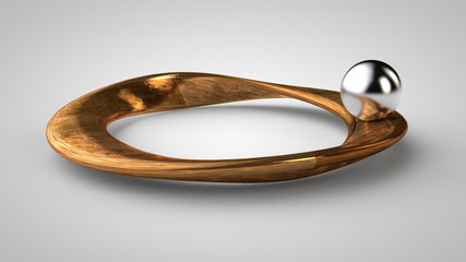 Deurstickers Fractal waves silver globe on an endless Mobius strip made of gold on a white background, 3d rendering