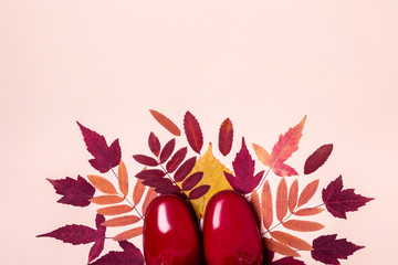 female fashion autumn rubber boots and dry leaves on pastel color background