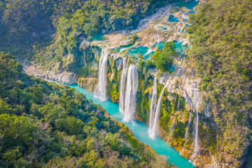Amazing crystalline blue water of Tamul waterfall at Huasteca Potosina in San Luis Potosi, Mexico