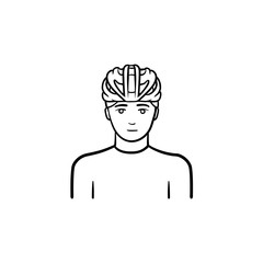 Man wearing bicycle helmet hand drawn outline doodle icon. Bicycle equipment, cycling and riding safety concept. Vector sketch illustration for print, web, mobile and infographics on white background.