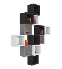 Modernes Wohnen: Regal aus Würfeln in schwarz, hellgrau und grau auf weiß isoliert.Seitenansicht, 3d render