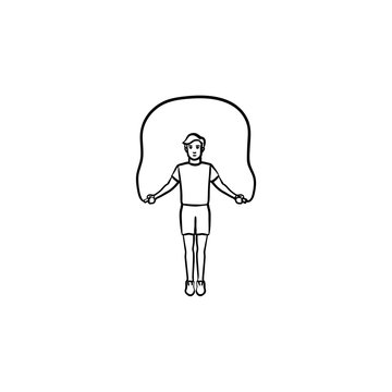 Sportsman skipping over jump rope hand drawn outline doodle icon. Fitness workout, bodybuilding concept. Vector sketch illustration for print, web, mobile and infographics on white background.