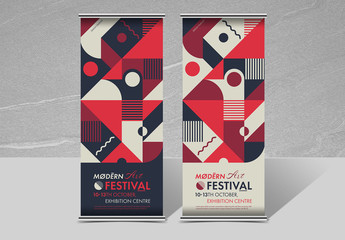 Roll-Up Banner Layout with Colorful Geometric Elements