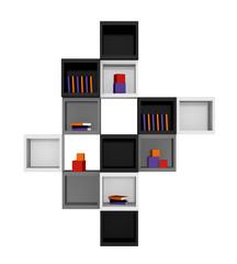 Modernes Wohnen: Regal aus Würfeln in schwarz, hellgrau und grau auf weiß isoliert.Vorderansicht, 3d render