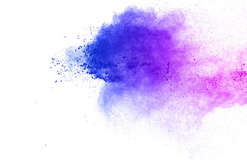 Acrylic Prints Form Abstract blue-purple dust explosion on white background. Freeze motion of blue-pink powder splashing.