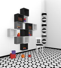 Modernes Wohnen: Regal aus Würfeln in schwarz, hellgrau und grau auf abstrakt gemusterten Boden.Seitenansicht, 3d render