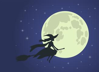 Halloween: witch flies on broomstick, full moon