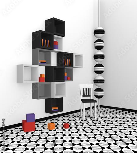 Elegant Modernes Wohnen: Regal Aus Würfeln In Schwarz, Hellgrau Und Grau Auf  Abstrakt Gemusterten Boden