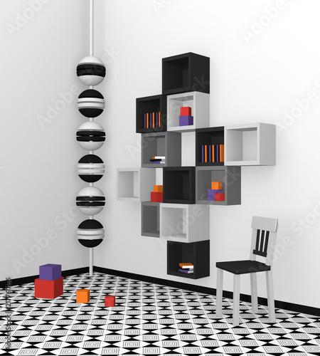 Modernes Wohnen: Regal Aus Würfeln In Schwarz, Hellgrau Und Grau Auf  Abstrakt Gemusterten Boden