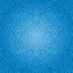 Blue Decorative Vintage Wallpaper Background ornate repeatable design