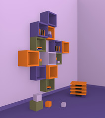 Modernes Wohnen: Regal aus Würfeln in trendigen Farben aus Seitenansicht. 3d render