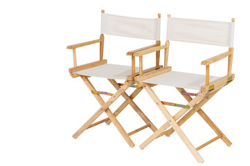 Clipping path, Double wooden and white seat director chair isolated on white background.