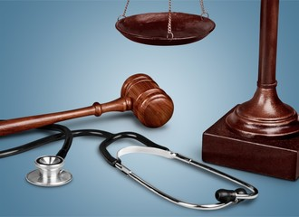 Law scales on table background
