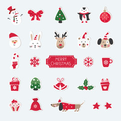 Christmas set of cute animals, Santa, Snowman and Christmas objects