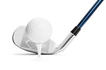 Foto auf Acrylglas Golf Golf ball on tee in front of golf stick on white background, included clipping path