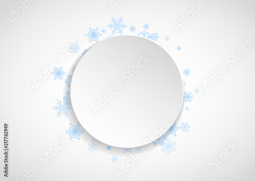 snow frame on white paper background horizontal christmas and happy new year theme blue