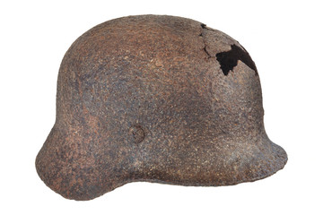 Authentic German Second World War helmet with hole