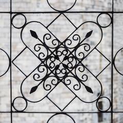 Schmiedeeisen Gitter kunstvoll auf einer Treppe