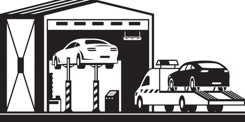 Roadside assistance truck brings car to service - vector illustration