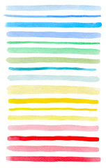Set of vector colorful watercolor lines