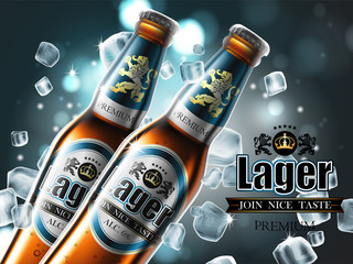 Design of advertising beer with two bottles in ice cubes. High detailed delicous illustration.
