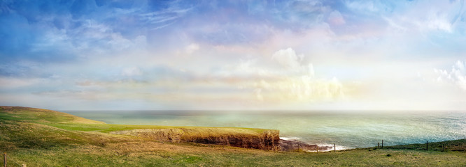 Canvas Prints White Beautiful panoramic landscape in a south of Ireland. County Cork, Mizen Head.