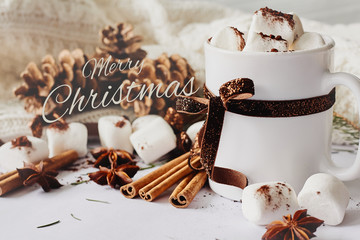 Winter Christmas New Year hot warming drink. Cup of hot chocolate or cocoa with marshmallow, fir cones, star anise, cinnamon on white knitted background