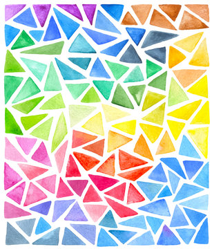 Set of bright vector watercolor triangles