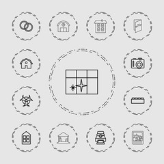 Collection of 13 frame outline icons