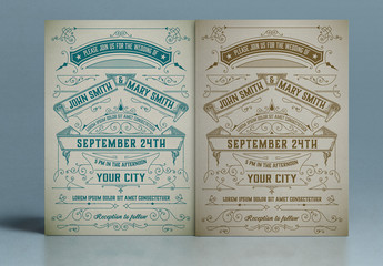 Vintage Wedding Invitation Layout with Ornaments