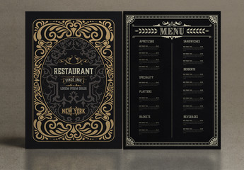 Vintage Restaurant Menu Layout with Ornaments