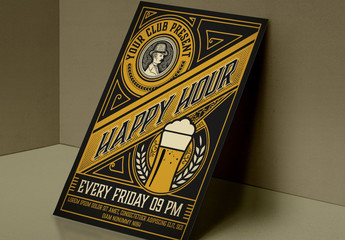 Vintage Happy Hour Flyer Layout