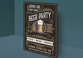 Vintage Beer Party Flyer Layout