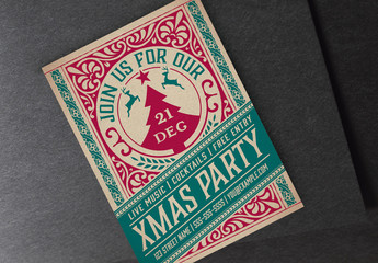 Vintage Christmas Party Flyer Layout