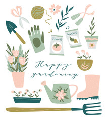 Garden tool set. Vector illustration of gardening elements:  spade, pitchfork, wheelbarrow, plants, watering can, grass,  garden gloves, cart and cute calligraphy. Happy gardening poster design.