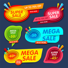 Colorful banner set for special offers, super and megas sales. Vector illustration