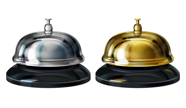Service bells vector illustration of realistic 3D hotel concierge service or office reception gold and silver plated bells. Isolated on white background