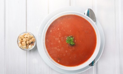 Fresh tomato soup in a white plate