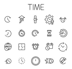 Time related vector icon set.