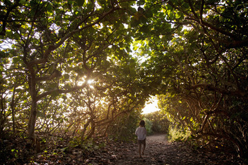 A young girl walks on a tree covered beach path.