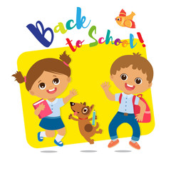 Vector Illustration Of Happy School Kids Go To School. Welcome Back To School. Cute School Boy And Girl With Book And Schoolbag.