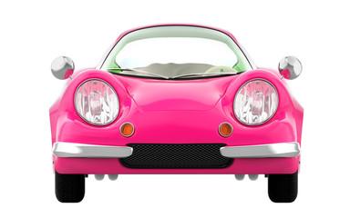 retro sport car cartoon 3d pink front