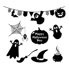 set of vector drawings for a holiday of halloween with pumpkins and characters