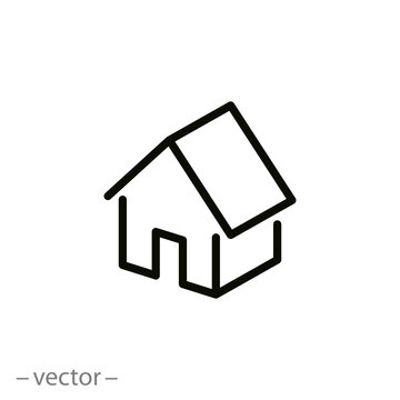 house isometric icon, linear sign isolated on white background - editable vector illustration eps10