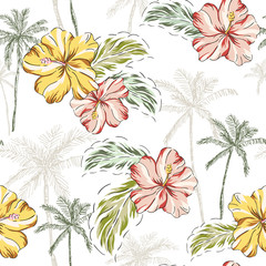 Tropical hibiscus flowers, palm trees, leaves background. Vector seamless pattern. Jungle illustration. Exotic plants. Summer beach floral design. Paradise nature graphic