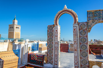 Ornate Rooftop and Mosque View