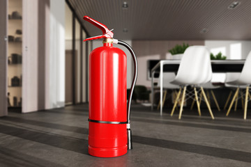 Fire extinguisher in luxury modern room or apartment.